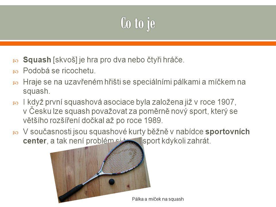 Co to je Squash [skvoš] je hra pro dva nebo čtyři hráče.